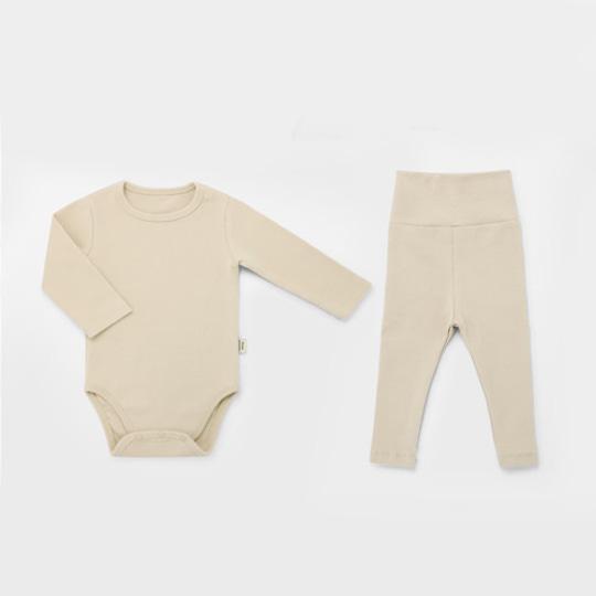Sand Beige Spandex Bodysuit Set