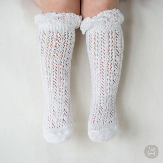 Doubleray Baby Knee Socks – White