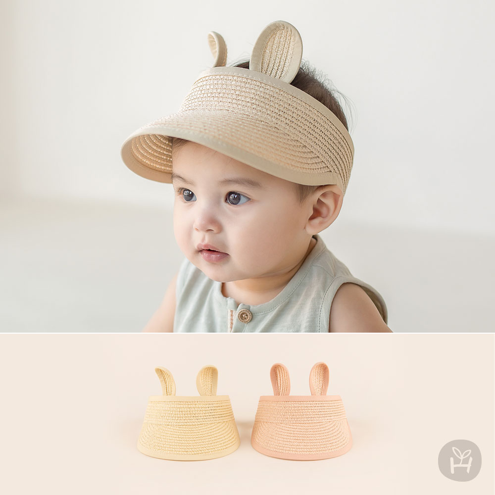 Rabbit Straw Baby Sun Cap with Visor