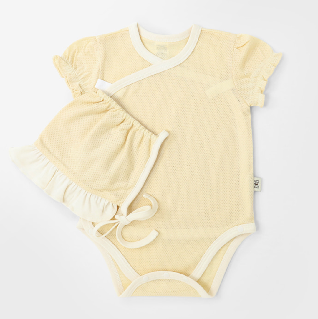 Yellow Cotton Mesh Summer Bodysuit + Hat