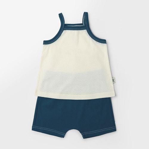 Sleeveless Deep Blue Cotton Mesh Summer PJ sets