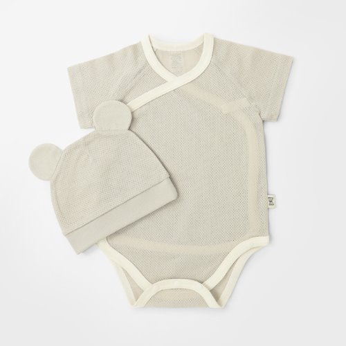 Beige Cotton Mesh Summer Bodysuit + Hat