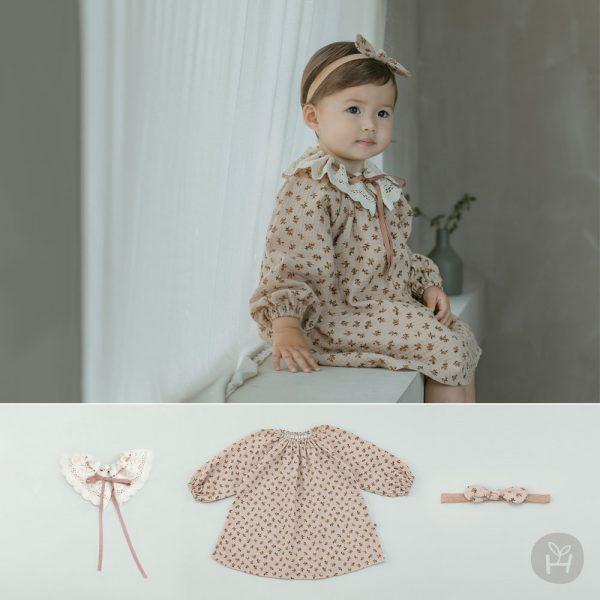 Ellen Baby Dress + Hair Band + Lace Cape Set