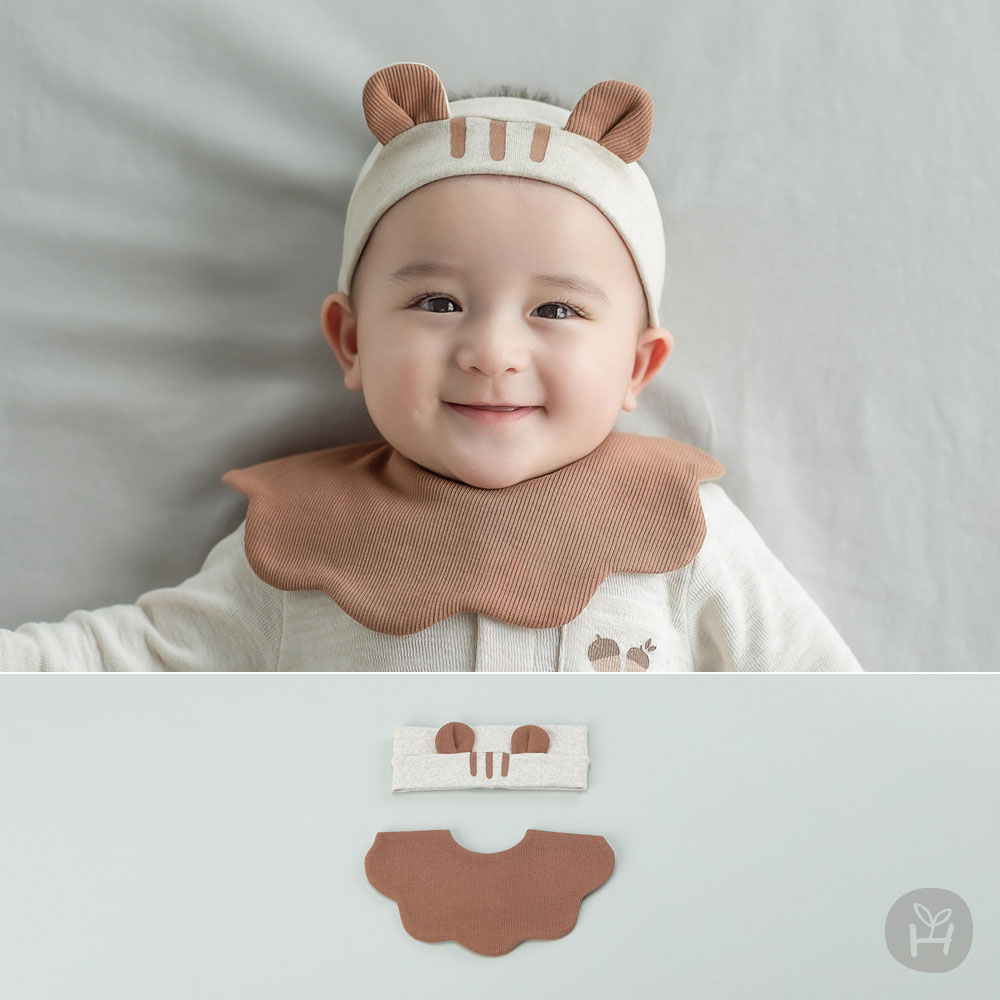 Huge Babybib + Hairband Set
