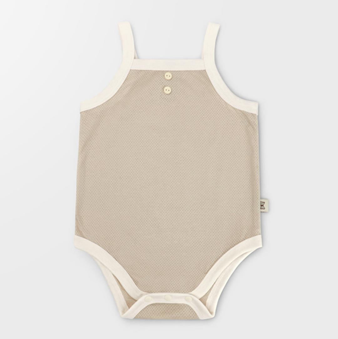 Cotton Mesh Vintage Oatmeal Summer Bodysuit
