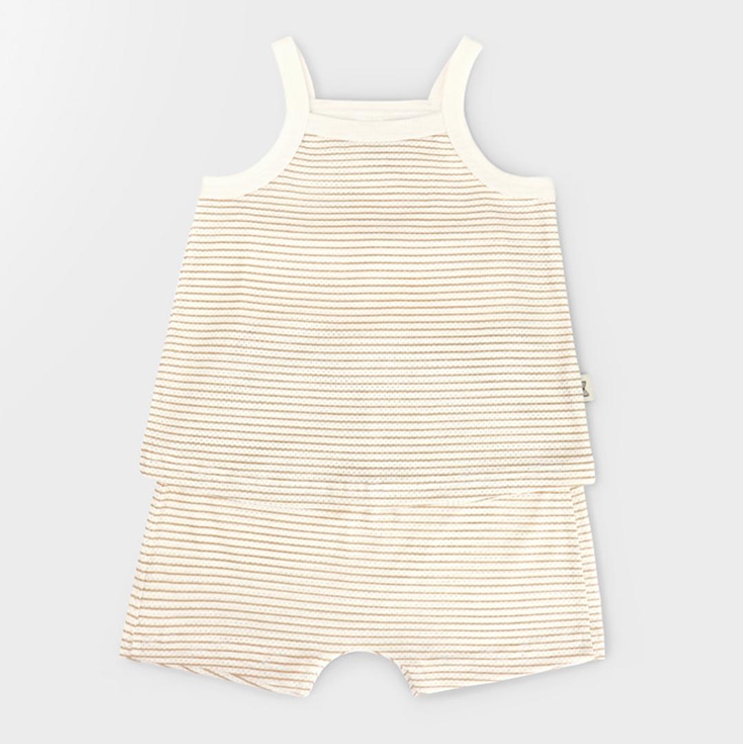 Sleeveless Beige Cotton Mesh Summer PJ sets